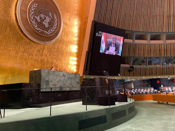 VSK Kaumudi, Special Secretary (Internal Security), Home Ministry, speaking at a UN high-level dialogue (Credit: India at UN, NY/Twitter)