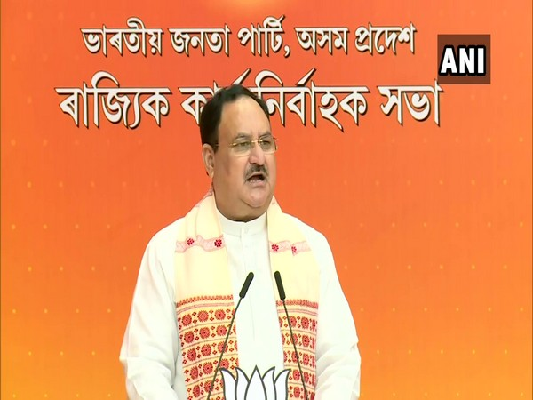 BJP chief Jagat Prakash Nadda addressing Assam BJP's state executive.(Photo/ANI)