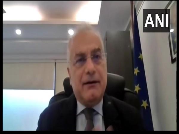 European Union Ambassador to India Ugo Astuto speaking to ANI. (Photo/ANI)
