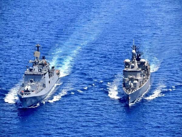 Indian Navy Ship Tabar undertaking drill with Greek Navy frigate HS Themistoklis.