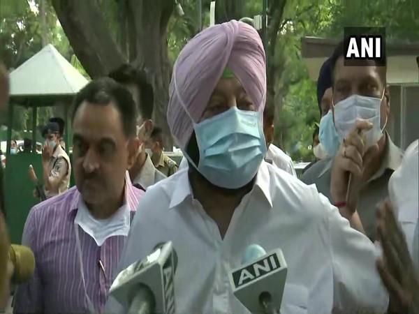 Punjab Chief Minister Amarinder Singh while leaving Congress president's residence (Photo/ANI)