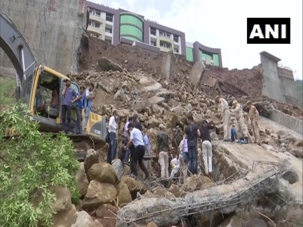 A retaining wall of the Government Medical College collapsed in Rajouri on Sunday. [Photo/ANI]