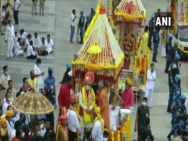 A visual Gujarat CM Vijay Rupani at Rath Yatra in Ahmedabad. (Photo/ANI)