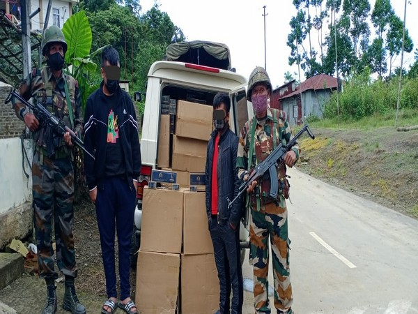 Assam Rifles apprehended two smugglers and recovered contraband items worth Rs 39 lakhs.