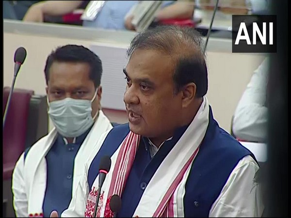 Assam Chief Minister Himanta Biswa Sarma speaking in the assembly on Monday.