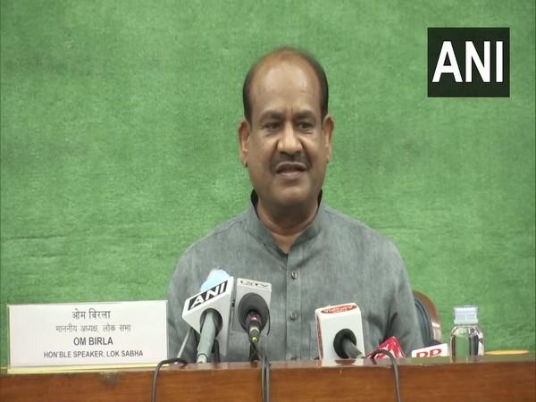 Lok Sabha Speaker Om Birla addressing a press conference in Delhi. (Photo/ANI)