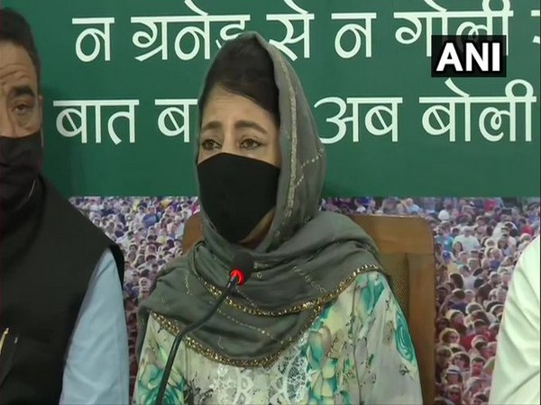 PDP chief Mehbooba Mufti speakinng to reporters in Srinagar on Monday. [Photo/ANI]
