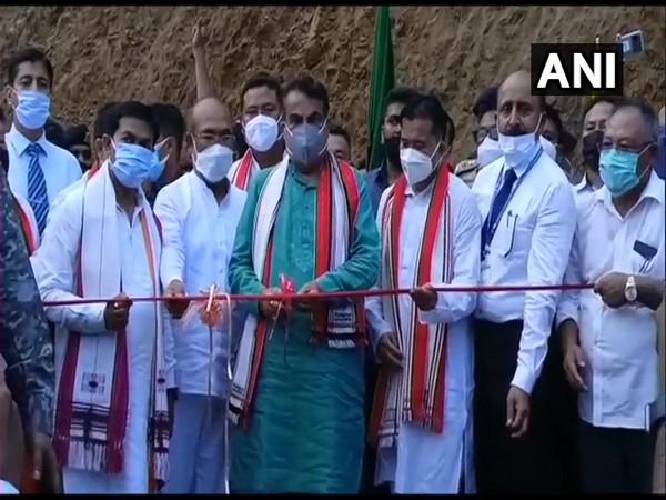Union Minister Nitin Gadkari inaugurating bridge over Makru river in Imphal