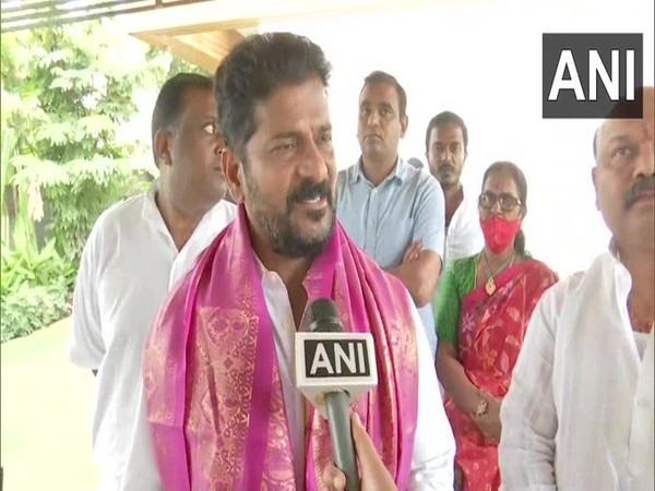 TPCC chief Revanth Reddy speaking to ANI, in Hyderabad on Tuesday. [Photo/ANI]