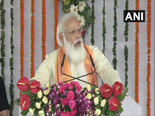 Prime Minister Narendra Modi addressing the inauguration of various development projects in Varanasi on Thursday. [Photo/ANI]
