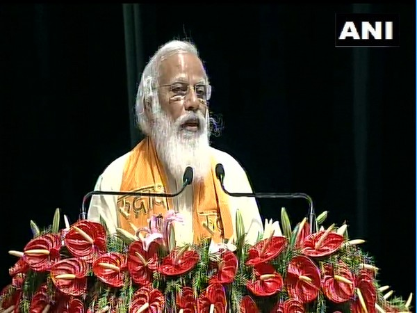 PM Modi at the inauguration of the Rudraksh convention centre in Varanasi on Thursday. [Photo/ANI]