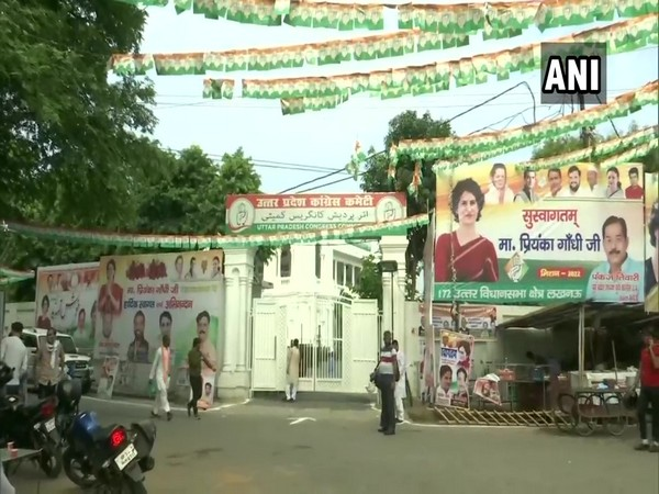 A visual of the posters, banners around Congress office in Lucknow (Photo/ANI)