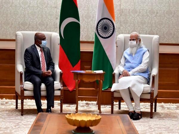 Maldives FM Abdulla Shahid meets PM Modi (Photo Credit: Twitter)