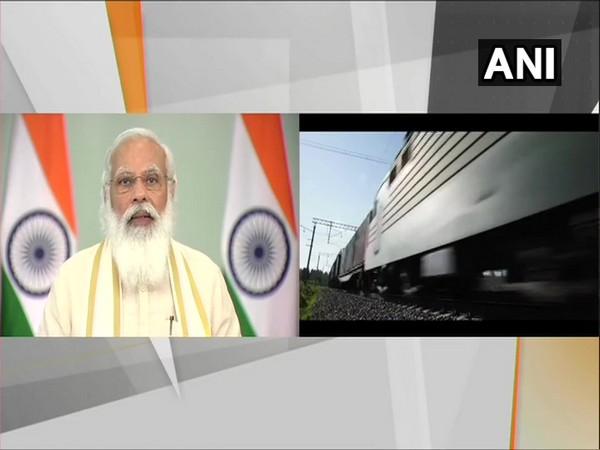 Prime Minister Narendra Modi launching Railway projects (Photo/ANI)