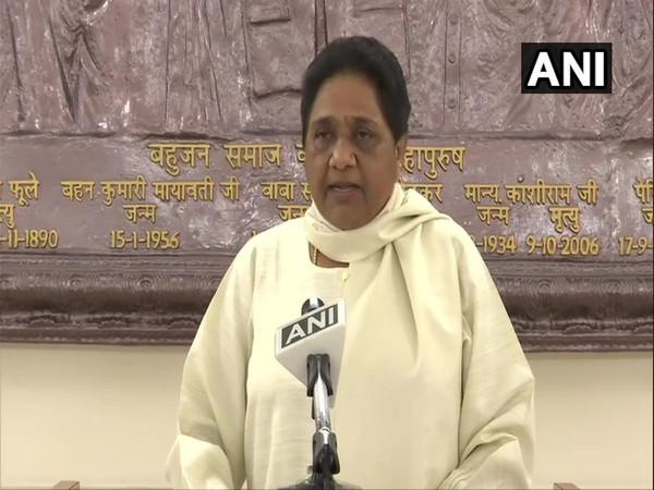 BSP chief Mayawati addressing a press conference (Photo/ANI)