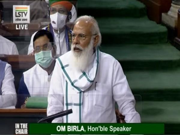 Prime Minister Narendra Modi in Lok Sabha
