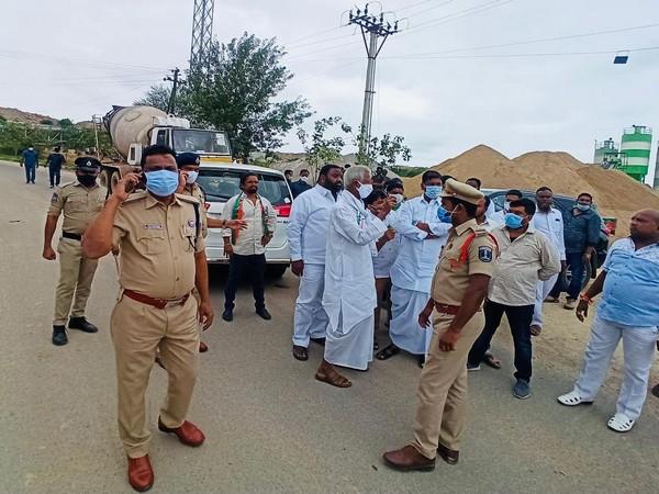 Visual of protest in Rangareddy (Photo/ANI)