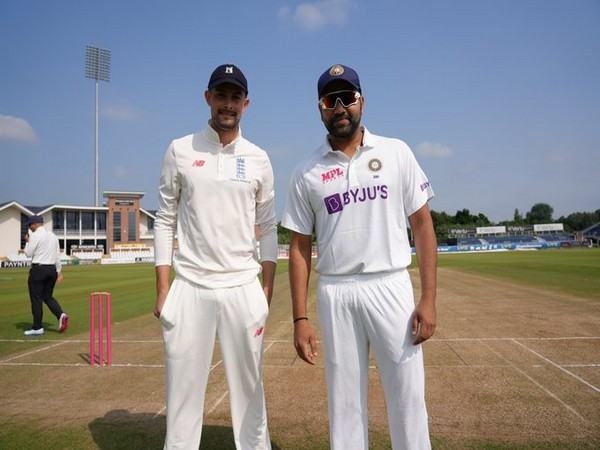 Rohit Sharma (right) at the toss. (Photo/ BCCI twitter)
