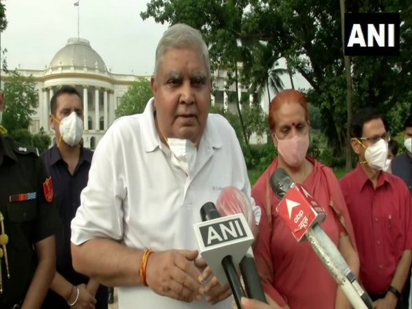 West Bengal Governor Jagdeep Dhankhar speaking to reporters in Kolkata on Tuesday. [Photo/ANI]