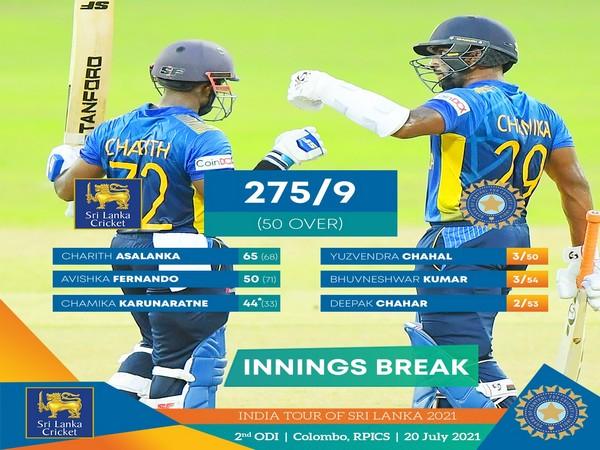 Sri Lanka scored 275/9 in 50 overs (Image: Sri lanka Cricket)