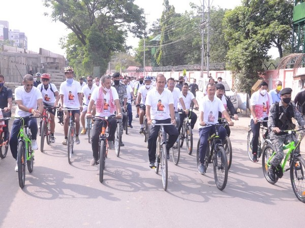 Assam Chief Minister Himanta Biswa Sarma participates in bicycle rally