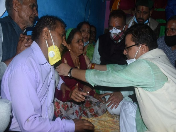 Uttarakhand Chief Minister Pushkar Singh Dhami meeting families of the people who died following a cloudburst.(Photo/ANI)