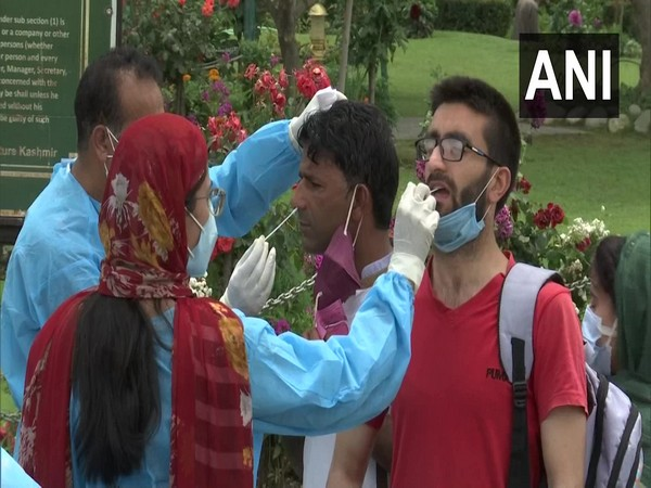 Rapid antigen testing facility at the entrance of Mughal Garden (Photo/ANI)
