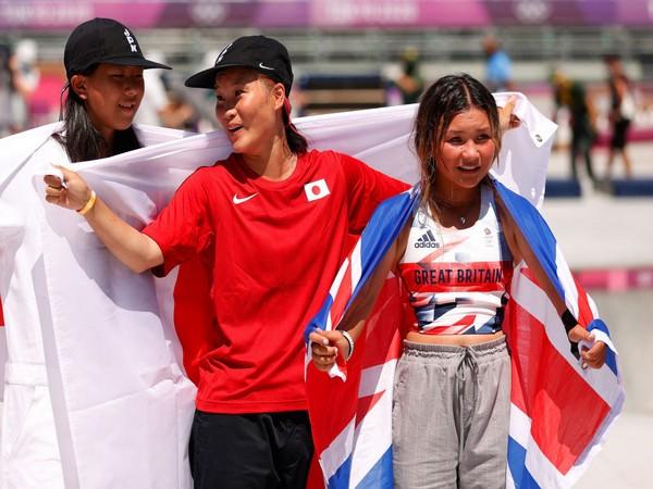 Sakura Yosozumi, Kokona Hiraki, and Sky Brown (Photo: Twitter/Olympics)