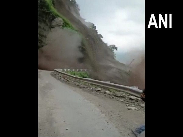Nahan-Kumarhatti road blocked on National Highway 907 in Himachal Pradesh following a massive landslide. [Photo/ANI]