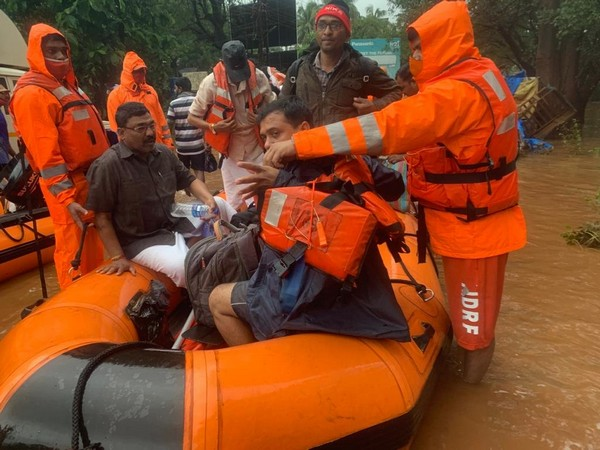 NDRF carrying out a resue and relief operation in flood-affected lower Chiplun area