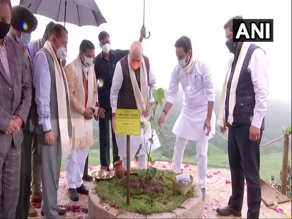 Union Home Minister Amit Shah while launching Assam Rifles' Green Sohra Plantation Drive in Shillong (Photo/ANI)