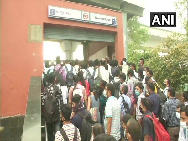 A visual from the Badarpur Border metro station in Delhi on Monday. [Photo/ANI]