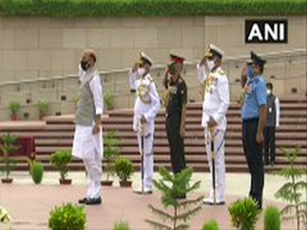 Defence Minister Rajnath Singh at National War Memorial. (Photo/ANI)