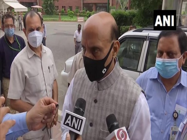 Defence Minister Rajanth Singh speaking to reporters on Monday. (Photo/ANI)