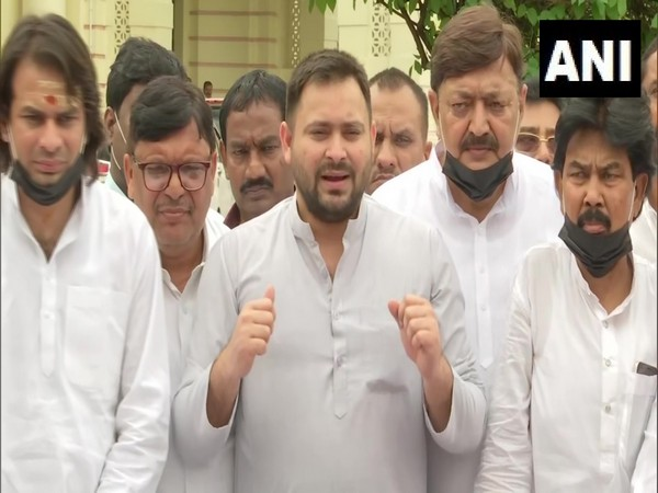 RJD leader Tejashwi Yadav speaking to reporters on Tuesday. (Photo/ANI)