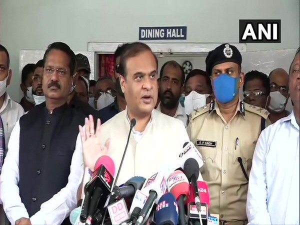 Assam Chief  Minister Himanta Biswa Sarma speaking to reporters in Silchar on Tuesday. [Photo/ANI]