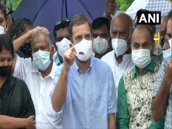 Congress leader Rahul Gandhi speaking to media at Parliament (Photo/ANI)