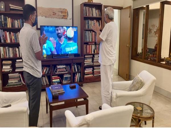Odisha Chief Minister Naveen Patnaik watching Indian men's hockey match