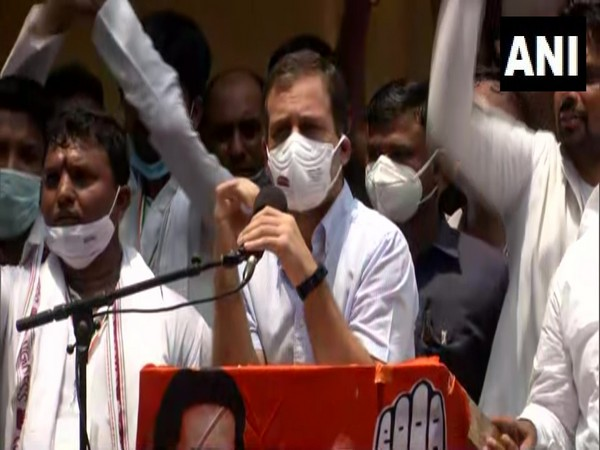 Congress leader Rahul Gandhi addressing protest of Youth Congress at Delhi (Photo/ANI)