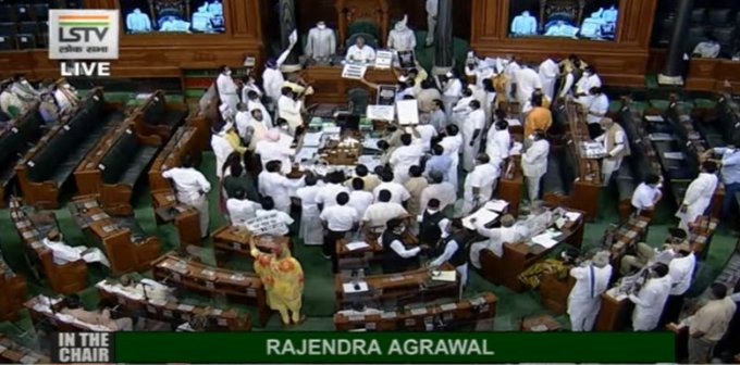Monsoon Session: LS adjourned till 2 pm amid Opposition uproar