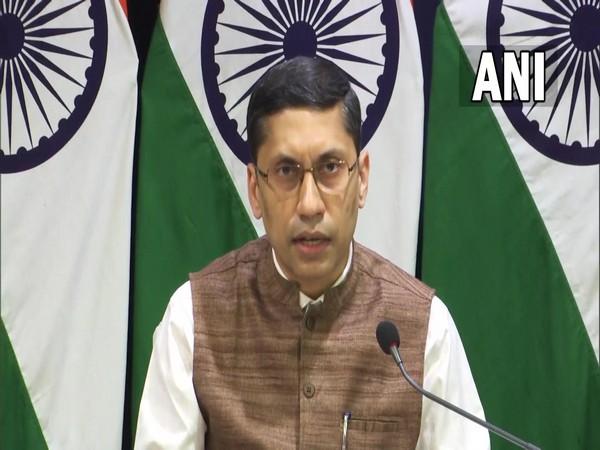 MEA spokesperson Arindam Bagchi speaking at regular media briefing on Thursday. (Photo:ANI)