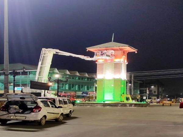 Clock Tower at Lal Chowk, Srinagar, illuminated in tricolour