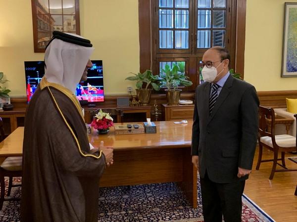 Foreign Secretary Harsh Vardhan Shringla with Qatar's Special Envoy Mutlaq bin Majed Al-Qahtani in New Delhi.