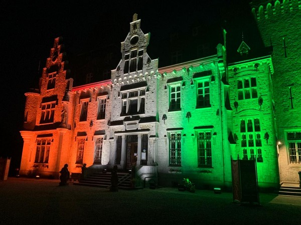 Belgium's iconic building 'Chateau de Petite Somme' lights up in hues of tri-colour to mark India's 75th Independence Day [Image Credits: @IndEmbassyBru]