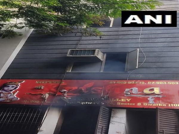Visual of Dwarka's Krishna Hotel (ANI)