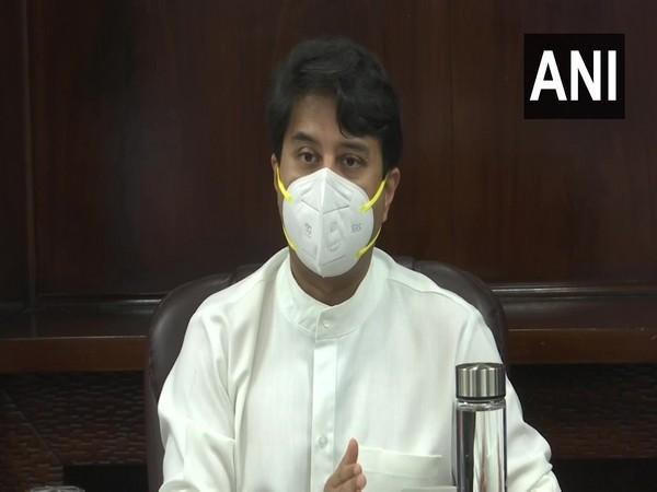 Union Civil Aviation Minister Jyotiraditya Scindia addressing a press conference (Photo/ANI)