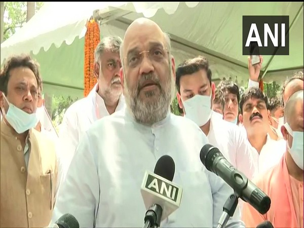 Union Home Minister Amit Shah in Aligarh (Photo/ANI)