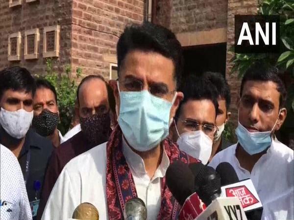 Congress leader Sachin Pilot speaking to reporters in Jodhpur on Tuesday. [Photo/ANI]