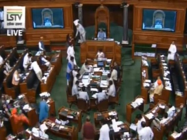 Opposition MPs in Lok Sabha staged a walk out over Kashmir issue on Tuesday. [Photo/ANI]