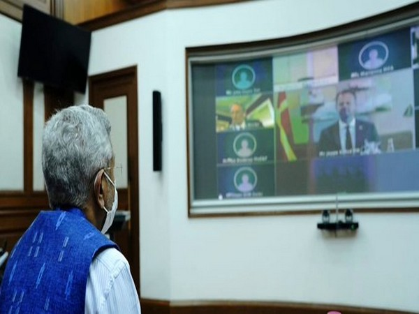 External Affairs Minister S Jaishankar on Tuesday held his first virtual joint commission with his Denmark counterpart Jeppe Kofod. (Photo tweeted by EAM)